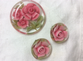 Reverse-carved Lucite 1950s Pink Roses Brooch and Earclips (sold)